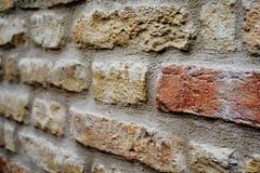 Ziegelsteine in einer Wand Stockbild