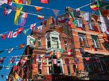 Ziegelsteinfassade im modischen Bezirk an der Tempel-Stange in Dublin lizenzfreies stockfoto