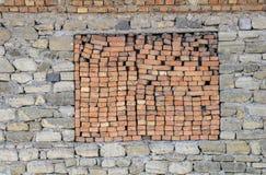 Ziegelsteinfenster Stockfoto