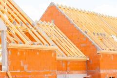 Ziegelsteinhaus im Bau Stockbild