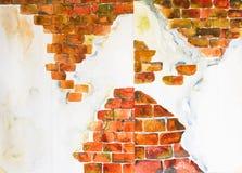 Ziegelsteinhintergrund'Aquarell gemalt Lizenzfreie Stockfotos