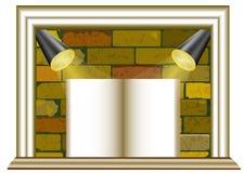 Ziegelsteinhintergrund mit Scheinwerfern und leerem Papier stock abbildung