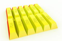 Ziegelsteinkonzept des Gold 3d Stockbild