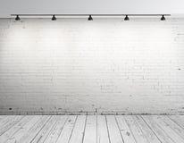 Ziegelsteinraum mit Lampe Lizenzfreies Stockfoto
