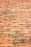 Ziegelsteinwegmethode im Garten als Hintergrund Lizenzfreies Stockfoto