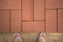 Ziegelsteinwegweise in DIY-Hausgarten Beschaffenheit Hintergrund decorate Stockfoto