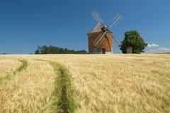 Ziegelsteinwindmühle auf einem Gebiet von Mais. Stockfotos