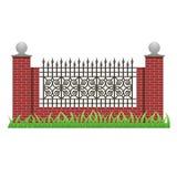 Ziegelsteinzaun mit Säulen und dekorativem Grill Stockfotografie