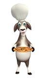 Ziegenzeichentrickfilm-figur mit Chefhut und -pizza Stockfoto