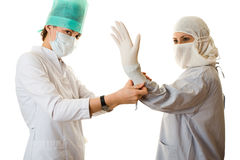 Ziehen Sie einen Handschuh über Stockfotografie