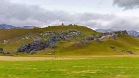 Ziehen Sie sich den Hügel zurück, der für seine riesigen Kalksteinfelsformationen in Neuseeland berühmt ist Stockfotografie