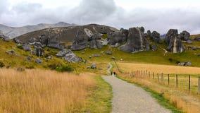 Ziehen Sie sich den Hügel zurück, der für seine riesigen Kalksteinfelsformationen in Neuseeland berühmt ist Stockbilder