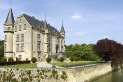 Ziehen Sie sich Schaloen mit Burggraben, Valkenburg, die Niederlande zurück Stockbilder