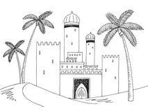 Ziehen Sie sich Skizzen-Illustrationsvektor der Wüste grafischen schwarzen weißen Landschaftszurück Lizenzfreies Stockfoto