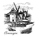 Zieherei von Don Quixote in Consuegra in Spanien, Olivenölseifen-La Mancha, grafische Illustration Lizenzfreie Stockfotos