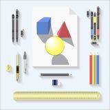 Ziehwerkzeuge eingestellt geometrischer Zeichnungs- und Werkzeugsatz auf grauem Hintergrund Stockfoto