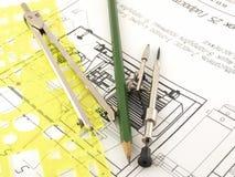 Ziehwerkzeuge und Entwurf Stockbilder
