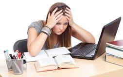Ziek en vermoeid van het bestuderen Stock Fotografie