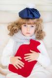 Ziek kind in bed Royalty-vrije Stock Afbeeldingen