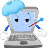 Ziek laptop beeldverhaal Stock Afbeelding