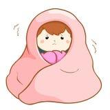 Ziek meisje die hard onder deken rillen Stock Afbeeldingen