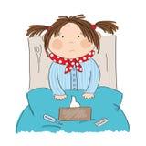 Ziek meisje met griepzitting in het bed stock illustratie