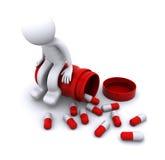 Zieke 3d karakterzitting op pillenpot Stock Illustratie