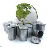 Zieke aarde in de vuilnisbak Stock Foto