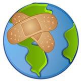 Zieke Aarde die Pleister draagt Royalty-vrije Stock Afbeelding