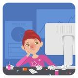 Zieke dame in het bureau stock illustratie