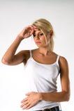 Zieke jonge vrouw Stock Foto