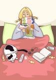 Zieke jonge vrouw in het bed Royalty-vrije Stock Foto's