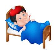 Zieke jongen die in bed ligt Stock Foto
