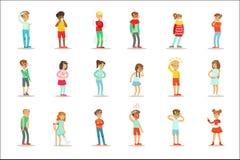Zieke Kinderen die het Onwel Lijden aan Ziekte of Verwonding voelen die Reeks van de Gezondheidszorg de Medische Hulp Beeldverhaa vector illustratie