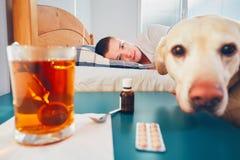 Zieke mens in bed royalty-vrije stock fotografie