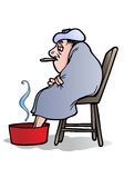Zieke mens die koorts heeft royalty-vrije illustratie
