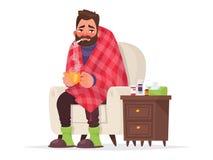 Zieke Mens Griep, virale ziekte Vector illustratie vector illustratie