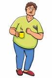 Zieke mens met kop en thermometer Stock Afbeeldingen