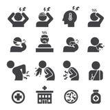 Zieke pictogramreeks Stock Foto's