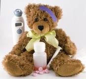 Zieke Teddybeer Royalty-vrije Stock Foto