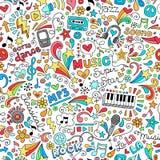 Zieke Vector van het Notitieboekjekrabbels van het muziek de Naadloze Patroon Stock Foto's