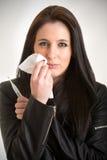 Zieke vrouw met koorts Stock Afbeeldingen