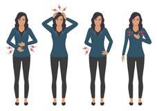 Zieke vrouw met pijnproblemen, hoofdborstrug en maagpijn Royalty-vrije Stock Fotografie