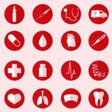 Ziekenhuis en medische die pictogrammen in rode cirkel wordt het geplaatst Royalty-vrije Stock Afbeelding