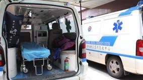 Ziekenwagen binnen stock footage