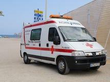 Ziekenwagen op Strand Stock Foto's