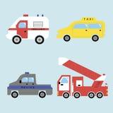Ziekenwagen, taxi, politie en brandbestrijdingsvoertuig Stock Fotografie