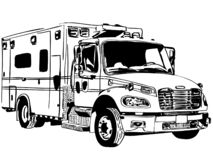 Ziekenwagen vectoreps Hand getrokken Crafteroks svg vrij, vrij svgdossier, eps, dxf, vector, embleem, silhouet, pictogram, onmidd stock illustratie