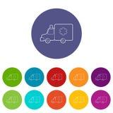 Ziekenwagenpictogrammen geplaatst vectorkleur Stock Afbeeldingen