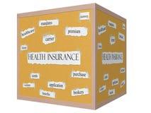 Ziektekostenverzekering op een 3D Word van Kubuscorkboard Concept Stock Afbeeldingen